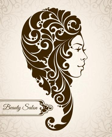 braided: Beauty salon, cosmetics, spa. Beautiful elegant vintage woman silhouette with ornamental long hair braided. Vector illustration