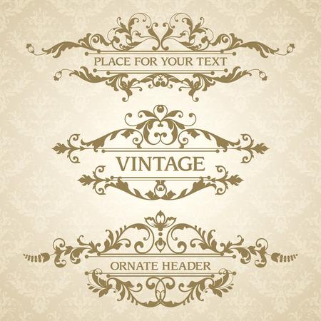 Vector Set Of Vintage Elegant Decorative Ornamental Page Decoration