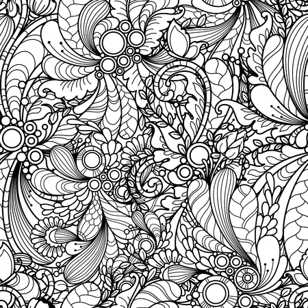 abstract doodle: Seamless pattern in doodle style. Floral, nature, ornate, decorative, tribal, abstract vector pattern. Black and white monochrome background. hand drawn coloring book page