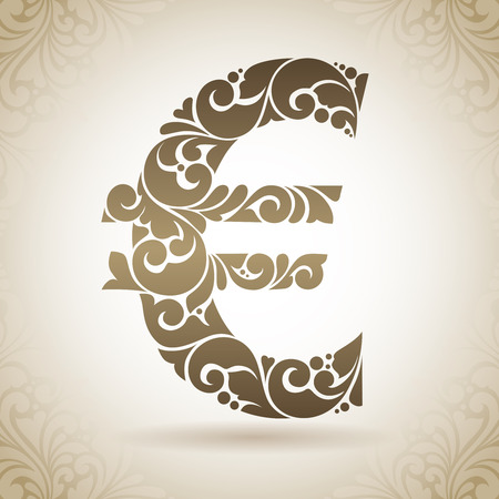 euro sign: Decorative ornamental euro sign. Vintage icon on a background with pattern Illustration