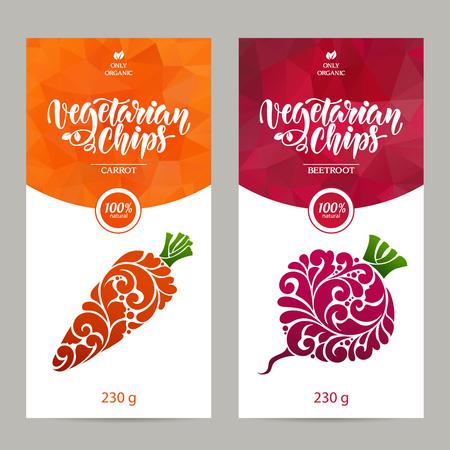 벡터 템플릿 포장의 집합 채식 음식, 레이블, 배너, 포스터, 신원, 브랜딩. 추상적 인 색 배경 장식 디자인 요소 - 당근과 부 끄 러운. 채식 칩