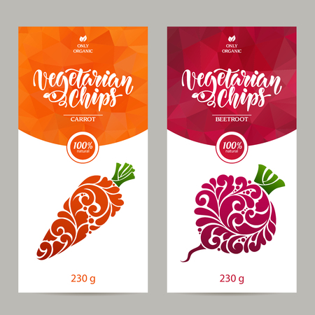 Vector set van templates verpakking vegetarisch voedsel, etiket, banner, poster, identiteit, branding. Abstracte kleur achtergrond met sier ontwerp elementen - wortel en rode biet. vegetarische chips Stock Illustratie