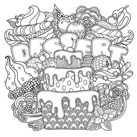 魔法のデザート組成落書きスタイル。花、華やかで装飾的なお菓子のデザイン要素。黒と白の背景。カップケーキ ケーキ クリームのお菓子です。本