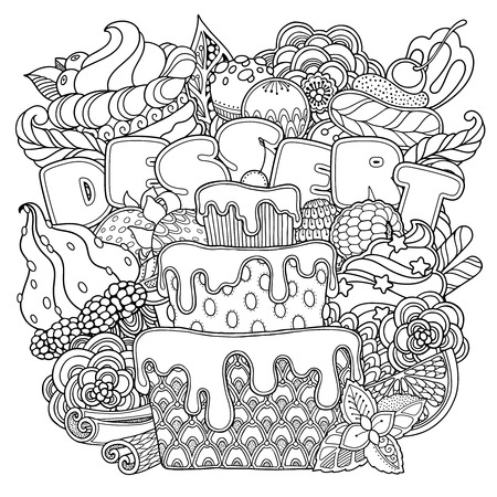 Magische dessertsamenstelling in krabbelstijl. Bloemen, sierlijke, decoratieve, snoep ontwerpelementen. Zwart en witte achtergrond. Cupcakes cake cream snoep. kleurplaat pagina