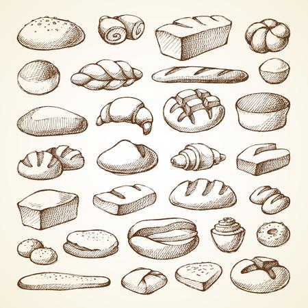 ベーカリー製品スケッチ ベクトル図を設定します。手描きコレクション パン、パン、マフィン、クロワッサン