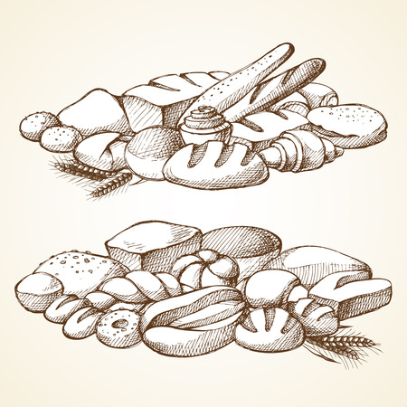 produits céréaliers: Set bakery sketch vector illustration composition border. Hand drawn illustration - bread, loaf, muffin, croissant