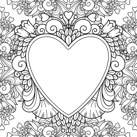 Vector Garden Wreath Round Frame In Doodle Style Floral Ornate