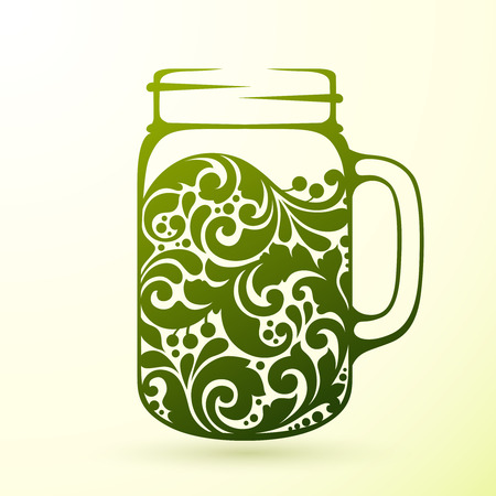 mixed drink: Ornate healthy green fresh juice smoothie in a jar mug. Vector element organic food and diet concept, fur menu design template. Vector illustration