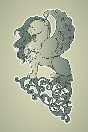 bestiary: retro illustration of a winged lion and ornament. Heraldry graphic. Illustration