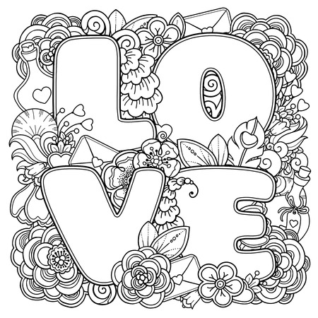 In Doodle Style Floral Ornate Decorative Tribal Design Elements Black And White Layout Hearts Love Letters Flowers Coloring Book Adult