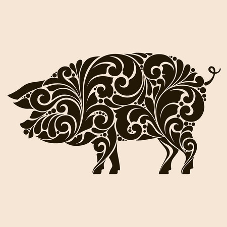 Ornamental decorative pig silhouette design decorative swirls curls elements pattern. logo template for butcher shop, menu