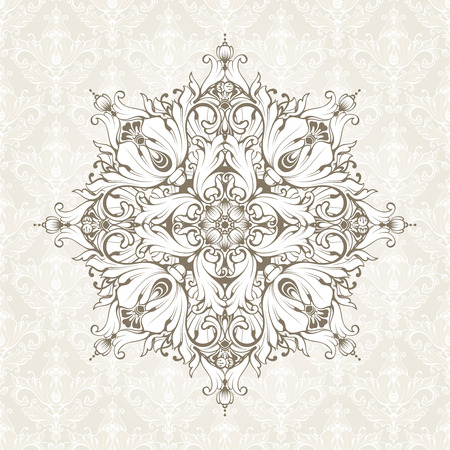 Vintage background with pattern. Ornate lace template for invitation, greeting card, certificate design.
