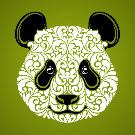 Ornamental decorative panda. Panda bear cute face isolated icon logo on green background Vector illustration