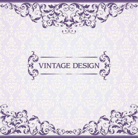 Vintage template with pattern and ornate borders. Ornamental lace pattern for invitation, greeting card, certificate.