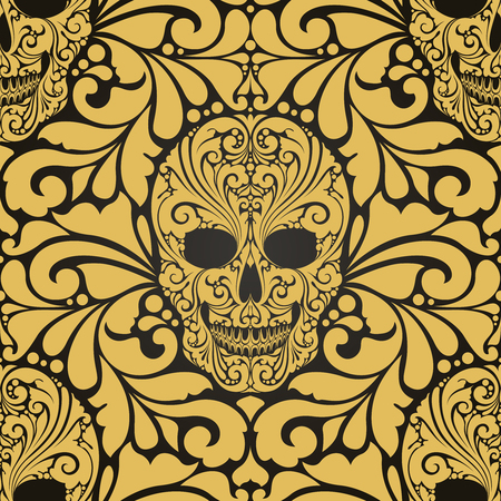 Decorative pattern with ornate skulls and abstract ornamental elements Çizim