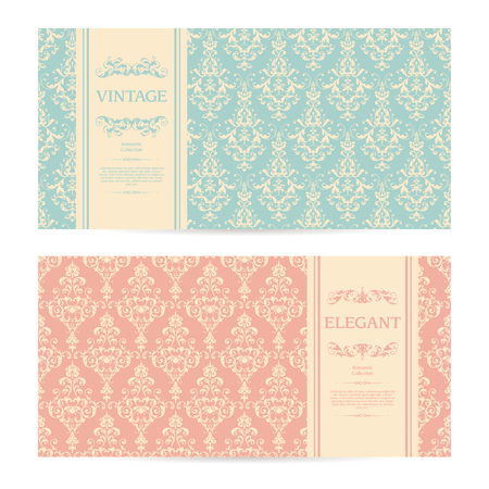 Vector set of vintage ornamental templates with pattern and frame Elegant wedding invitation, greeting card, banner, packaging design