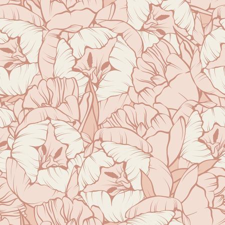 Seamless floral pattern. Elegant linear beige pastel tulips flowers background