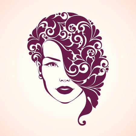 Ornamental girl. Vector illustration of woman beauty salon