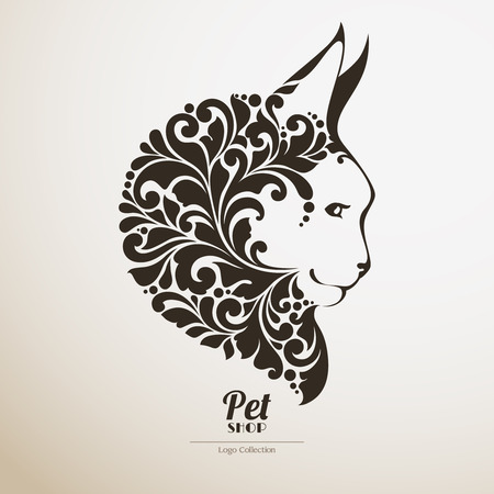 A Logo pet shop. Ornate cat icon Decorative maine coon vector illustration 向量圖像