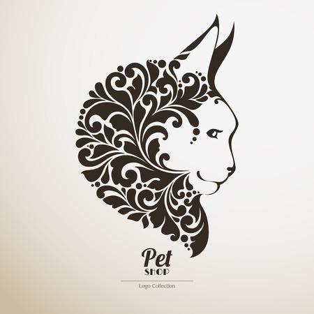 A Logo pet shop. Ornate cat icon Decorative maine coon vector illustration Illustration