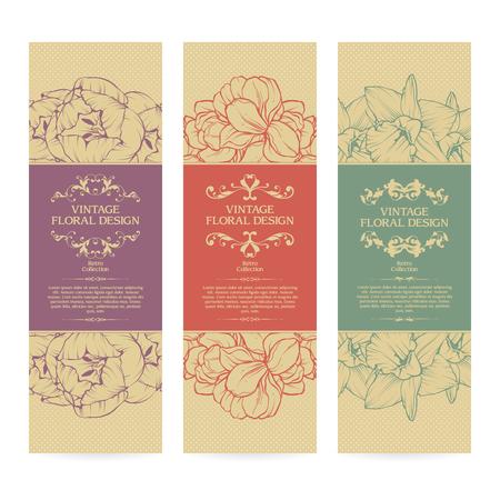Vector set of vintage ornamental frame floral templates banners design Stock Illustratie
