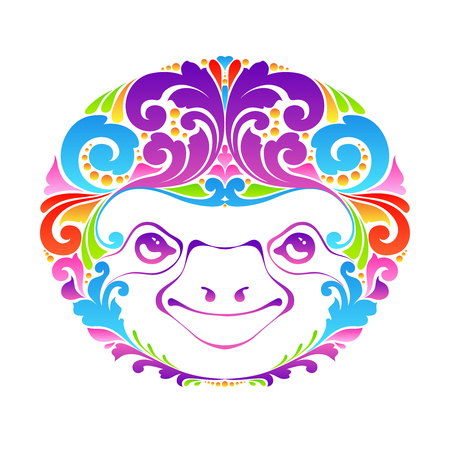 Happy colorful funny ornate sloth. Splash abstract design. Illustration