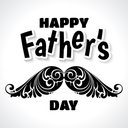 Fathers Day illustration with ornate decorative curls mustache.