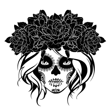 Skull girl in a flower wreath. Black and white illustration
