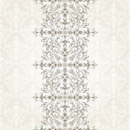 Vintage background with pattern and ornamental seamless border. Ornate lace template for invitation, greeting card, certificate design. endless.