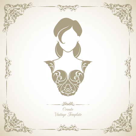 Vintage template with ornamental decorative frame and icon girl in elegant dress.