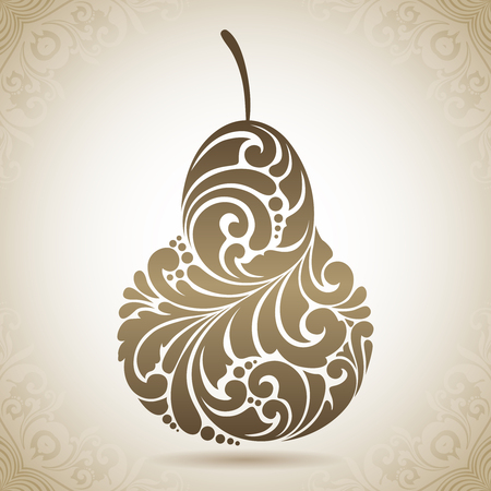 Vintage decorative ornamental pear. Vector abstract illustration logo icon fruit design element with ornamental patterns Stock Illustratie