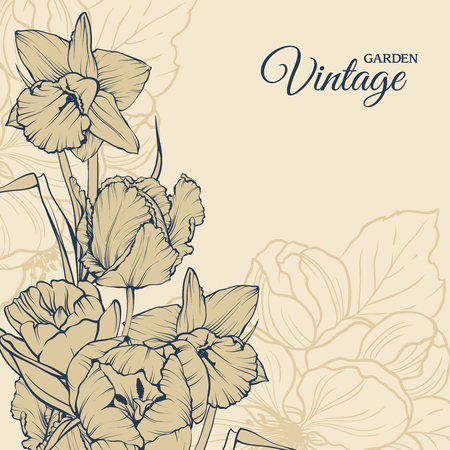 Vector background design with hand drawn flowers Vintage garden collection