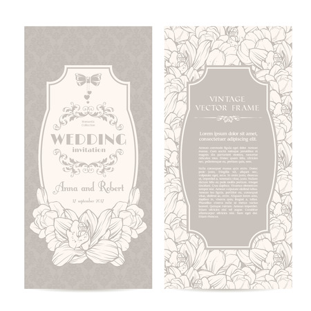 intage set of template spring flowers and patterned background. Elegant lace wedding invitation design, Greeting Card, banners Stock Illustratie