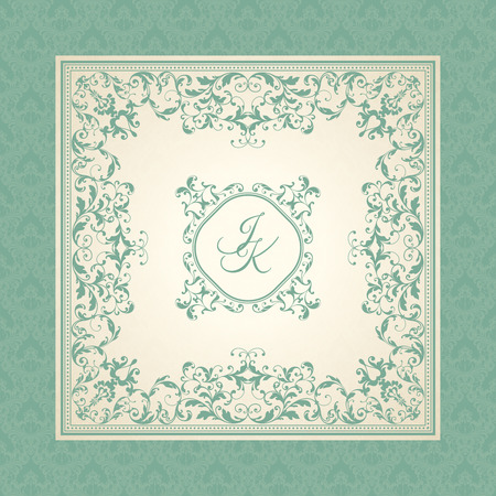 Vintage template with pattern and ornate frame. Ornamental lace pattern for invitation, greeting card, certificate