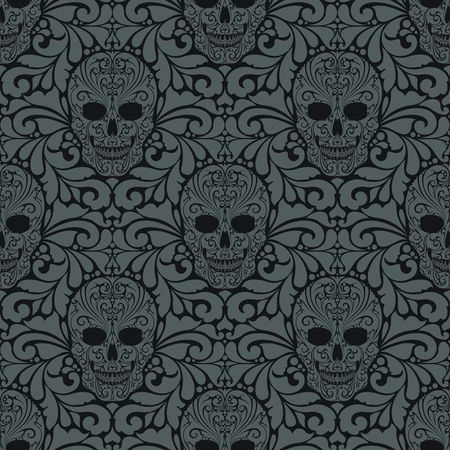 Decorative seamless pattern with ornate skulls and abstract ornamental elements Day of the Dead Wallpaper Pattern background