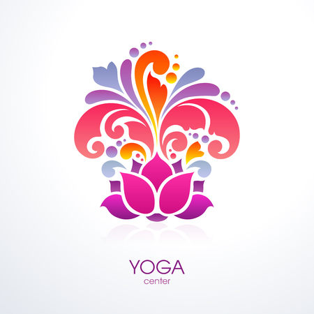 Abstract colorful ornate splash yoga background Decorative lotus flower symbol icon design element logo yoga class, relax spa center Illustration for banner, poster, business sign, identity, branding