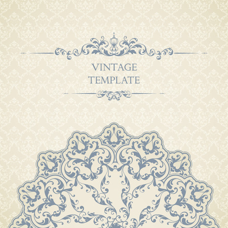 Vintage template with seamless pattern, decor element and ornate frame. Ornamental lace design for invitation, greeting card, certificate. Stock Illustratie