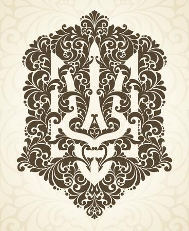 Decorative ornamental national symbol emblem coat of arms Ukraine Ethnic Ukrainian pattern Trident in vintage style