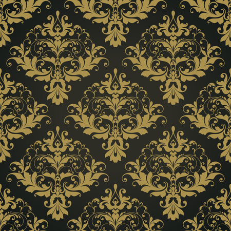 Vector black ornate damask background Seamless abstract decorative elegant pattern