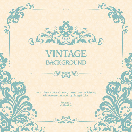Vintage ornamental template with pattern and decorative frame blue background. Stock Illustratie