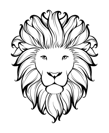Linear stylized lion. Black and white graphic. Vector illustration can be used as design for tattoo, t-shirt, bag, poster, postcard Vettoriali