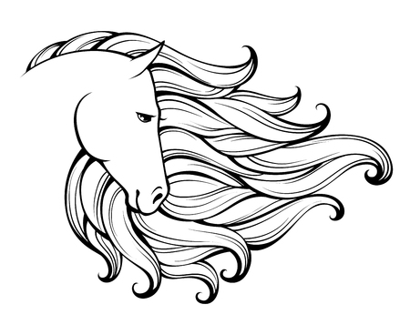 Linear stylized horse. Black and white graphic. Vector illustration can be used as design for tattoo, t-shirt, bag, poster, postcard Stock Illustratie