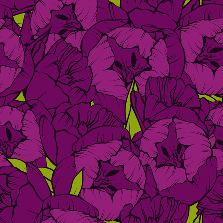 Seamless floral pattern. Elegant linear tulips flowers background