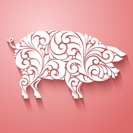 Ornamental decorative pig silhouette design decorative swirls curls elements pattern. logo template for butcher shop, menu
