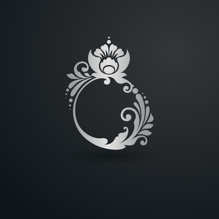 Decorative flourishes calligraphic elegant ring. Ornamental icon. Luxury Logo template, business sign, identity for Boutique, Jewelry, Fashion, Wedding and other vector illustration Stock Illustratie