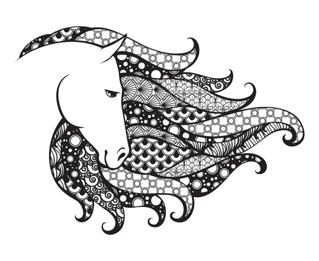Ornamental patterned head of the horse. Doodle vector illustration. Black and white graphic. Can be used as design for tattoo, t-shirt, bag, poster, postcard, coloring book.