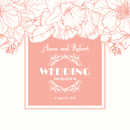 Wedding invitation with linear floral background. Greeting postcard in grunge or retro style Elegance pattern with flowers