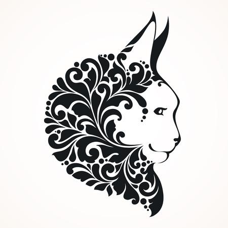 Ornamental decorative cat. Emblem  tattoo design Vector illustration. Stock Illustratie
