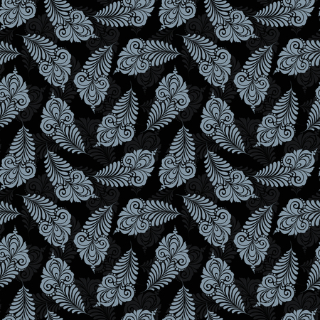 Seamless pattern with floral feather on dark background