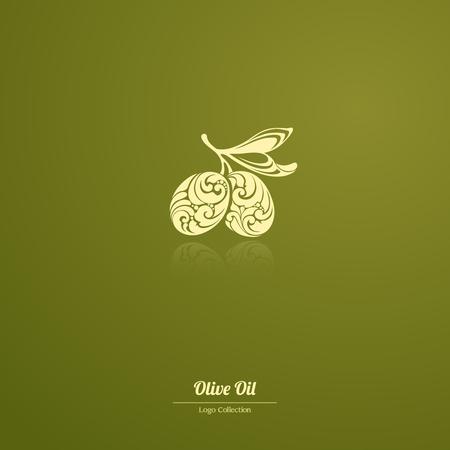 Decorative Logo Template olives, olive oil, olive branch Ornate olives icon for label, pack